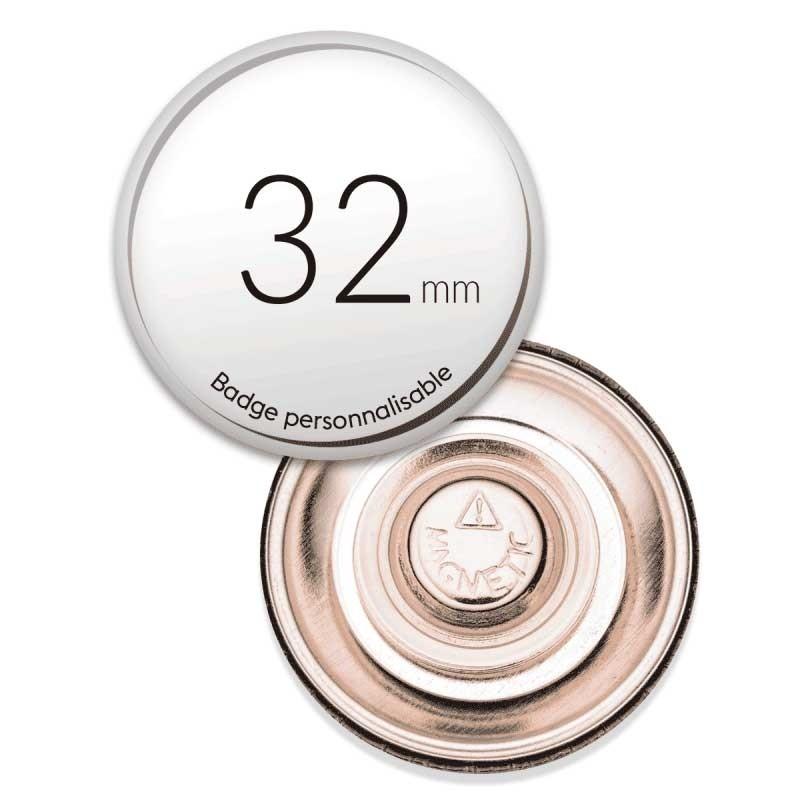 Badge aimanté ronds de 32mm