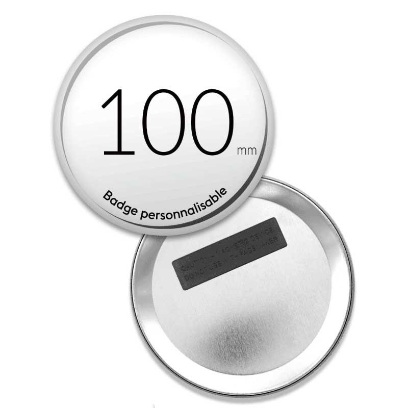 Badge aimanté ronds de 100mm - 3 aimants