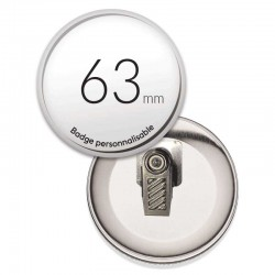 Badge pince rond de 63mm