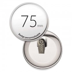 Badge a pince rond de 75mm