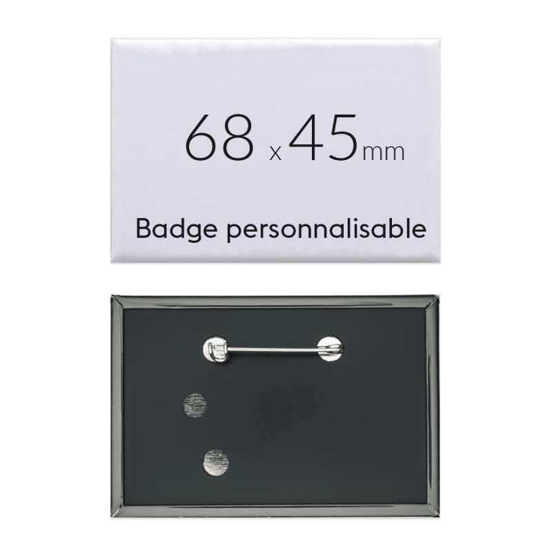 Badge rectangulaire personnalisé épingle de 68x45mm