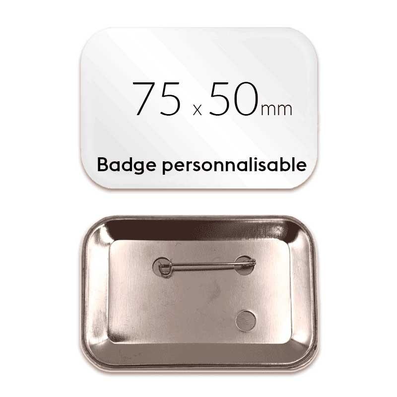 Badge rectangulaire personnalisé épingle de 75x50mm