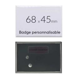 Badge personnalisé rectangulaire de 68x45mm