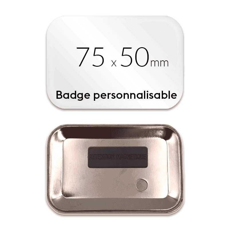 Badge rectangulaire aimanté 75x50mm