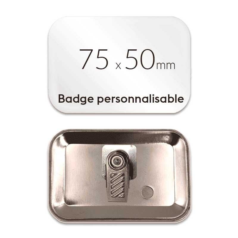 Badge à pince rectangulaire de 75x50mm
