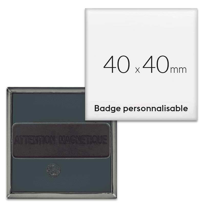 Badge aimanté carré 40x40mm