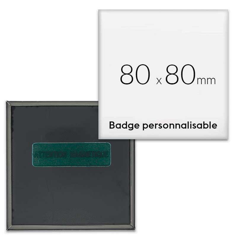 Badges carrés aimantés 80x80mm