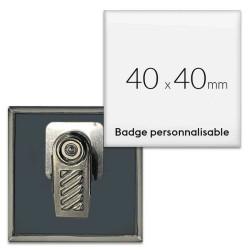 Badges carrés avec pince rotative
