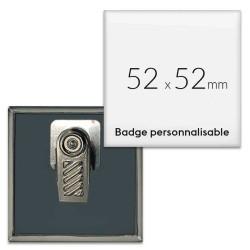 Badges carrés 52x52mm avec pince rotative