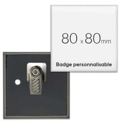 Badges carrés avec pince rotative - 80x80mm